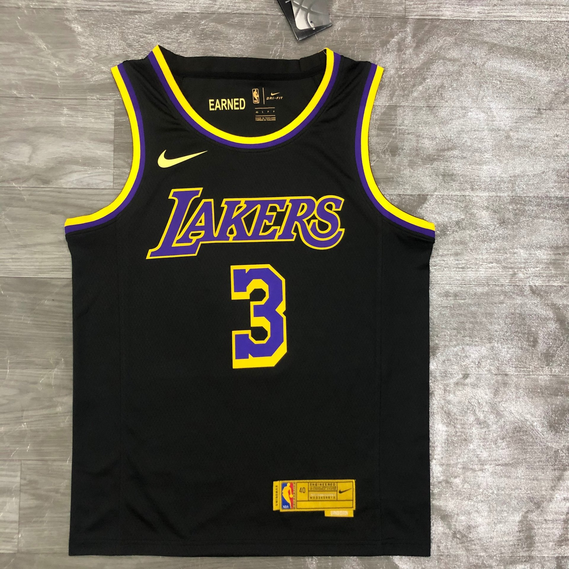 Anthony Davis Los Angeles Lakers - Black/Yellow #3 *EARNED EDITION ...
